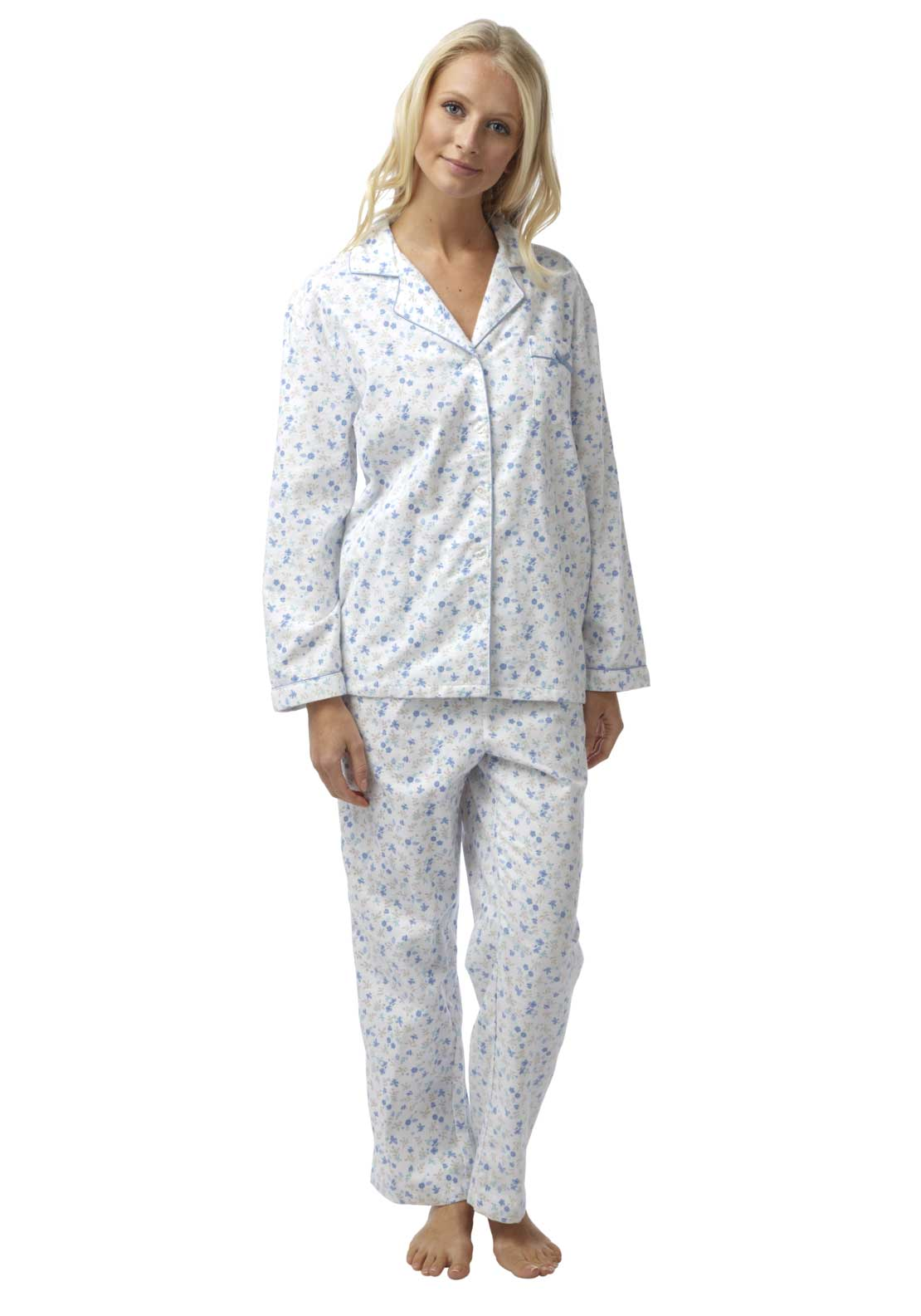 Marlon Brushed Cotton Pyjama Set, Blue Multi