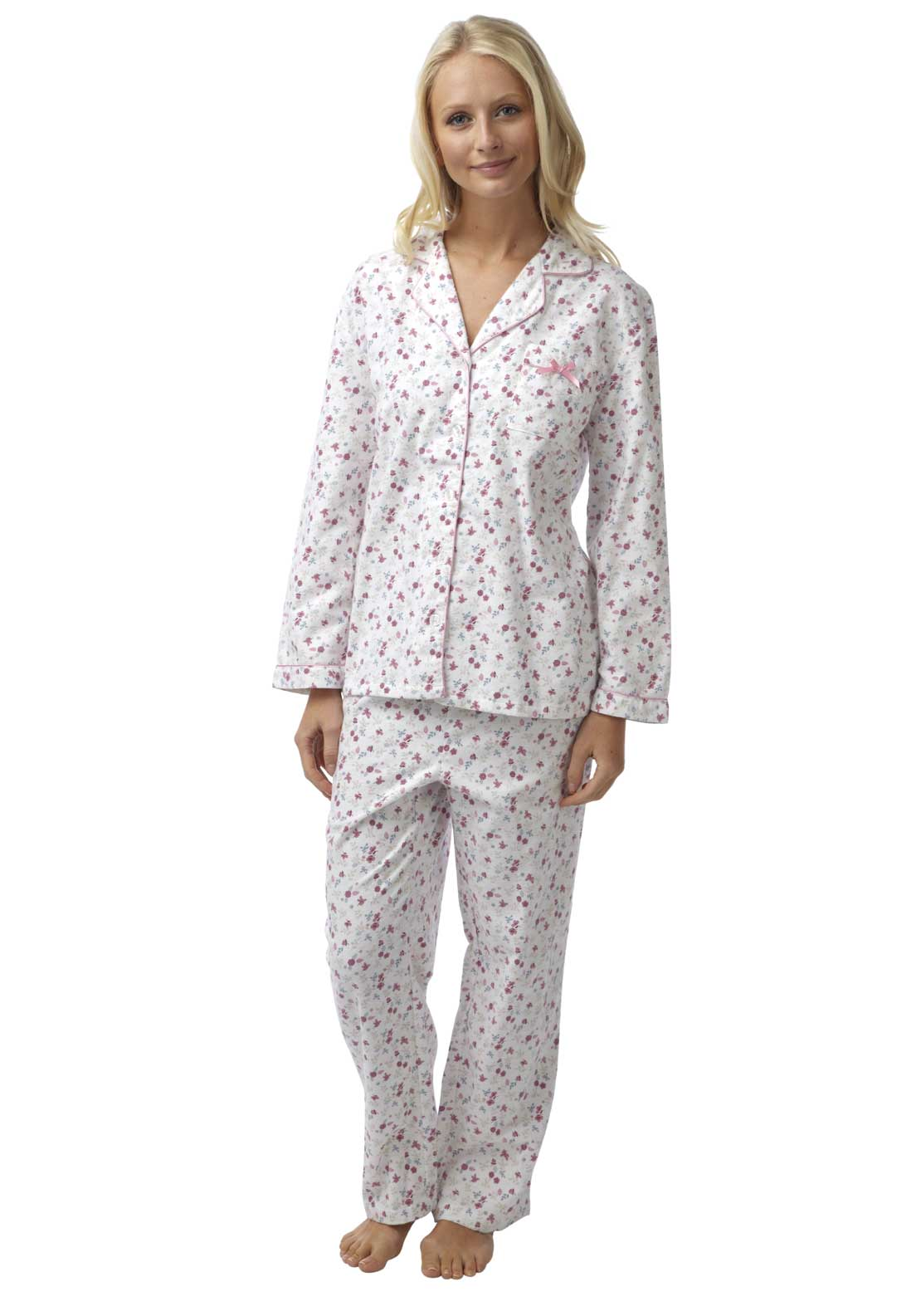 Marlon Brushed Cotton Pyjama Set, Pink Multi