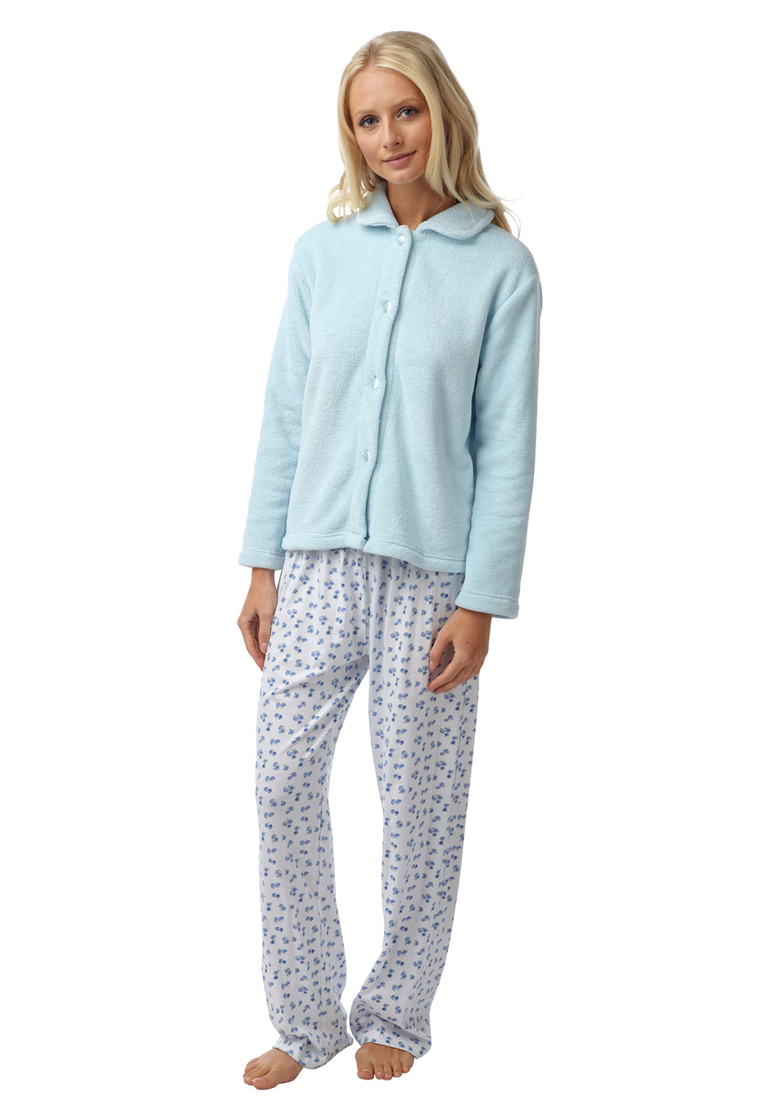 Marlon Terry Fleece Bed Jacket, Pale Blue
