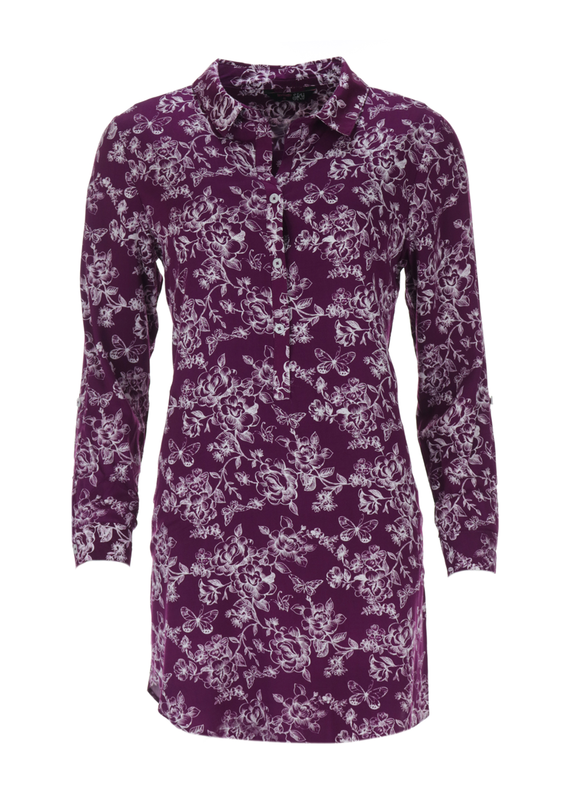 Indigo Sky Floral Print Night Shirt, Purple