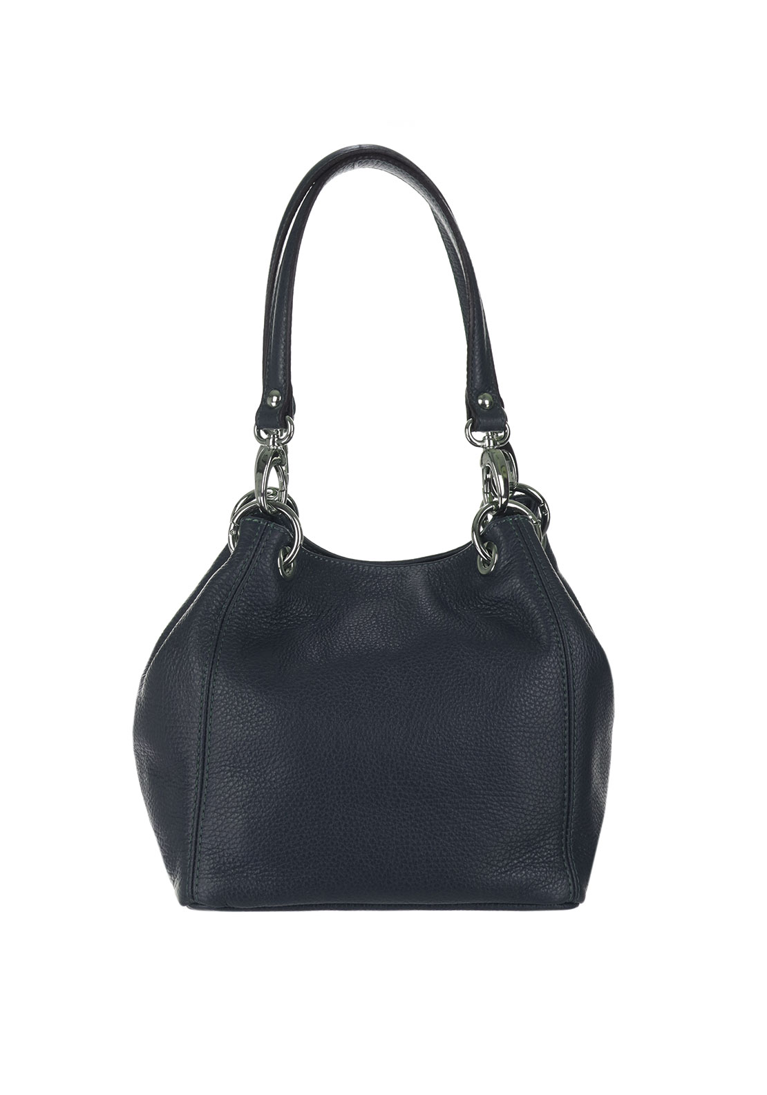 Maxima Leather Shoulder Bag, Navy