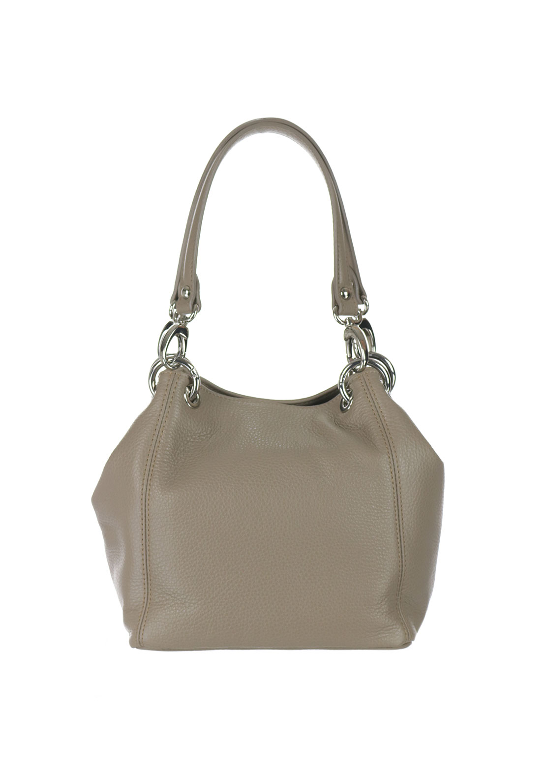 Maxima Leather Shoulder Bag, Taupe