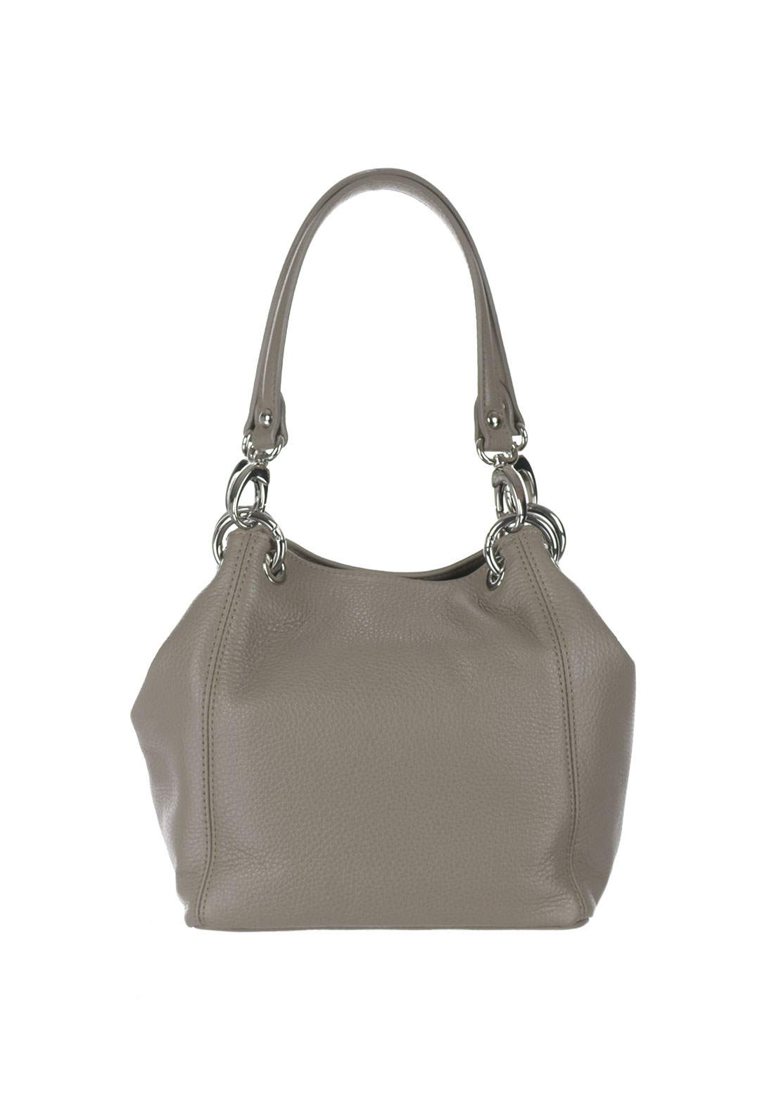 Maxima Leather Shoulder Bag, Grey