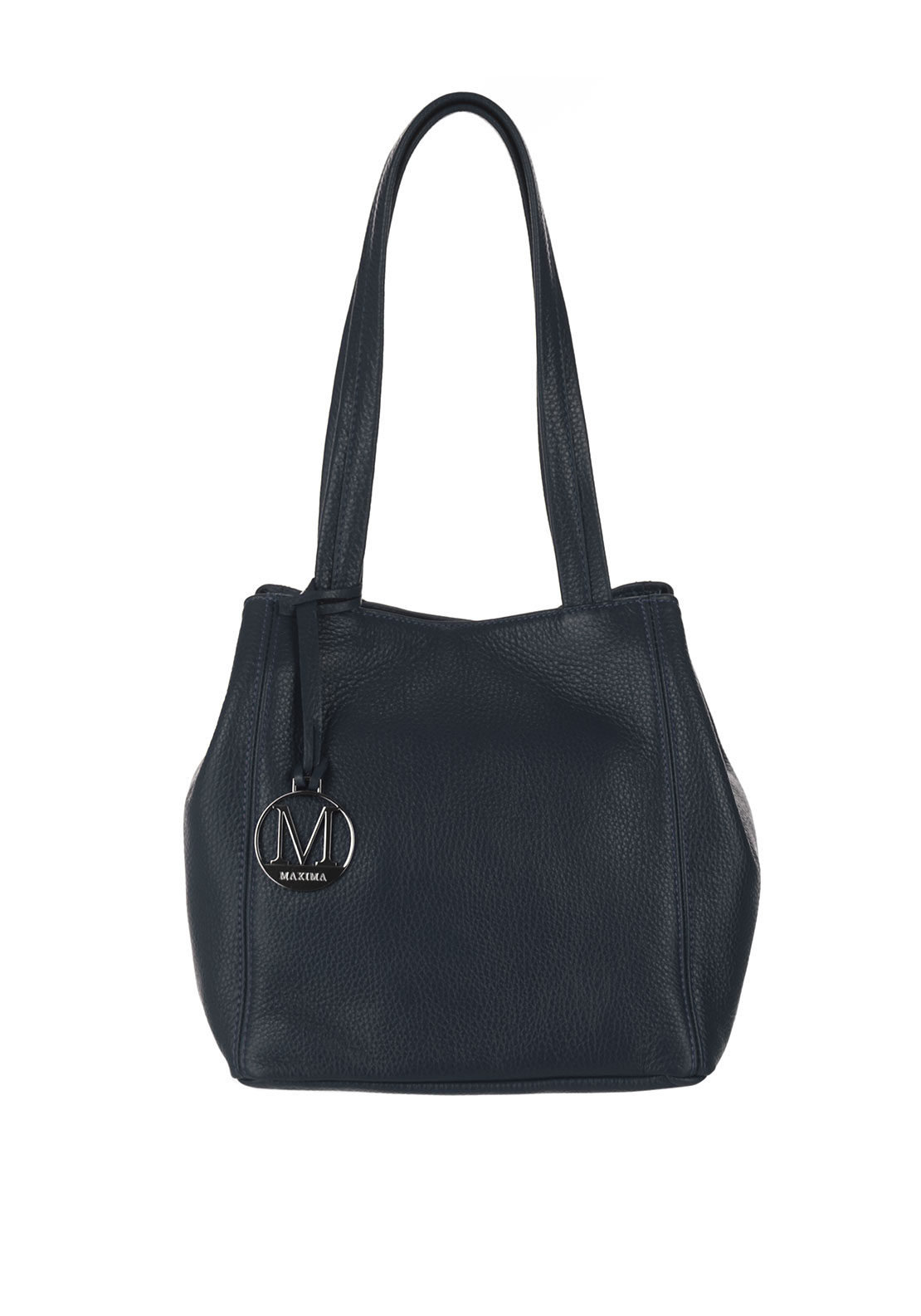 Maxima Leather Bucket Bag, Navy