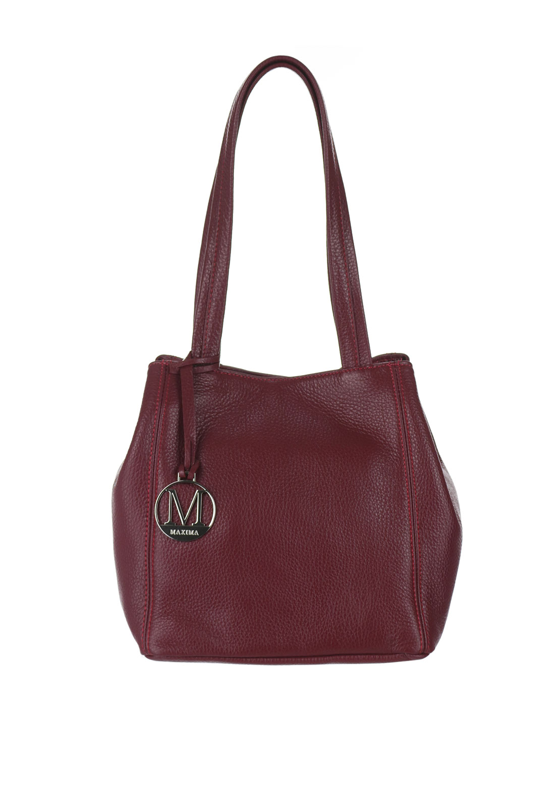 Maxima Leather Bucket Bag, Red