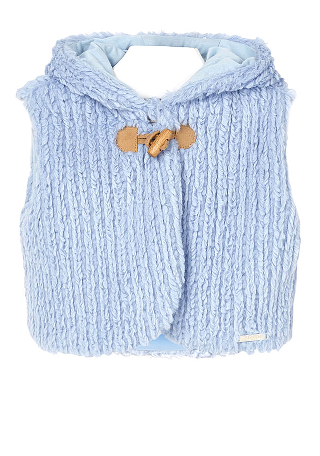 Mayoral Baby Girls Faux Fur Hooded Gilet, Blue
