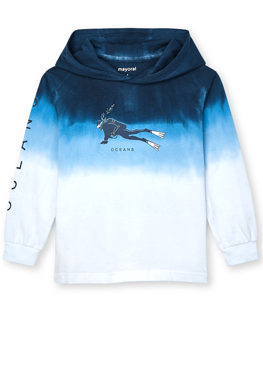 Mayoral Boys Tie Dye Hooded Top, Blue