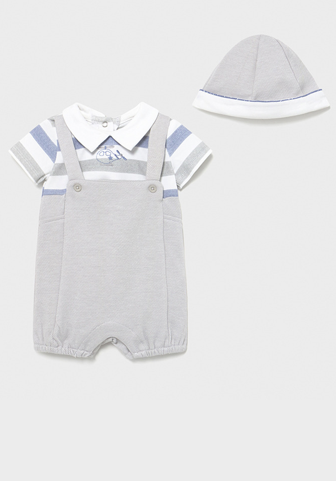 Mayoral Baby Boys 2 Piece Romper and Hat Set, Grey