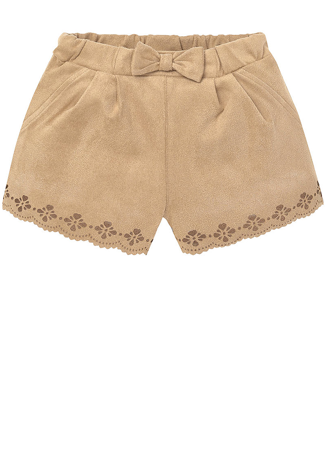 Mayoral Baby Girls Faux Suede Cut Out Shorts, Tan