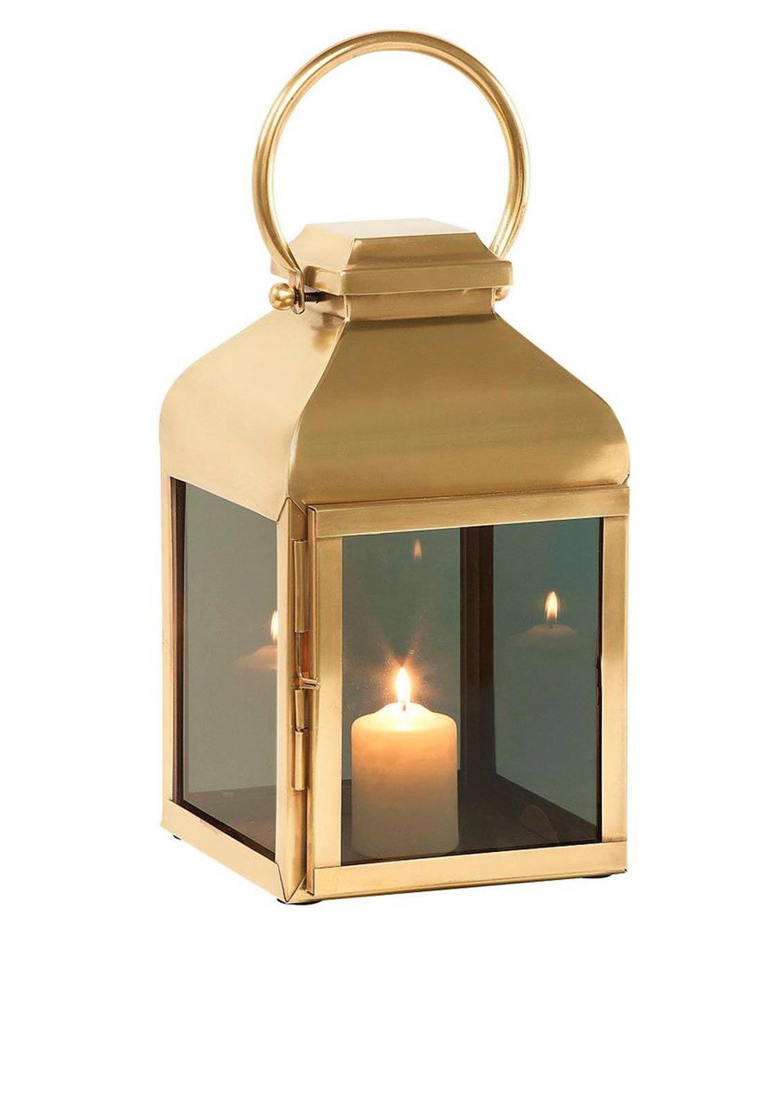 Mindy Brownes Small Smoked Glass Brass Lantern, 18 inches