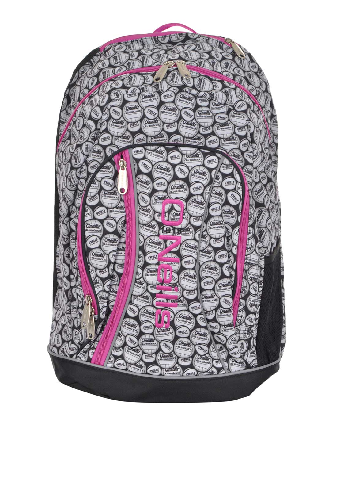 O'Neill's Printed Balls Marley Back Pack School Bag, Black and Pink