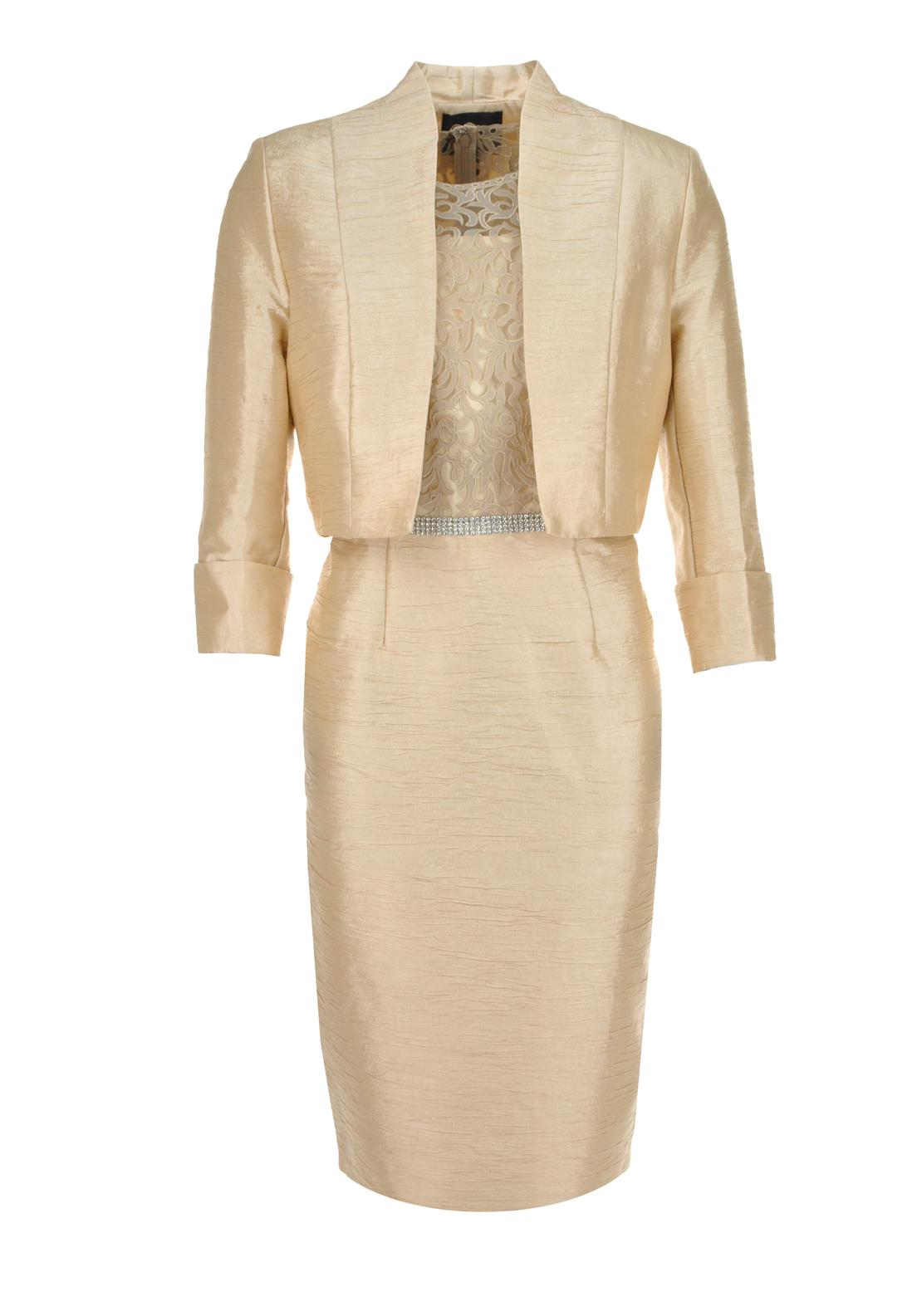 Mascara Special Occasion Diamante Embellished Dress And Jacket, Sand
