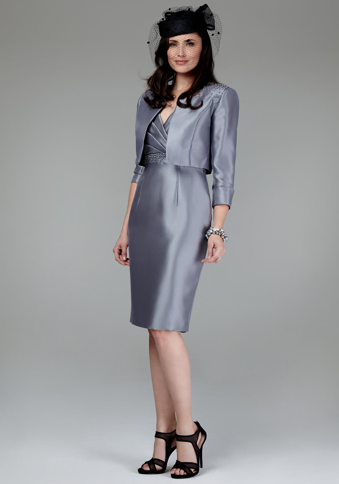 Mascara Special Occasion Pearl Embellished Dress And Jacket, Grey