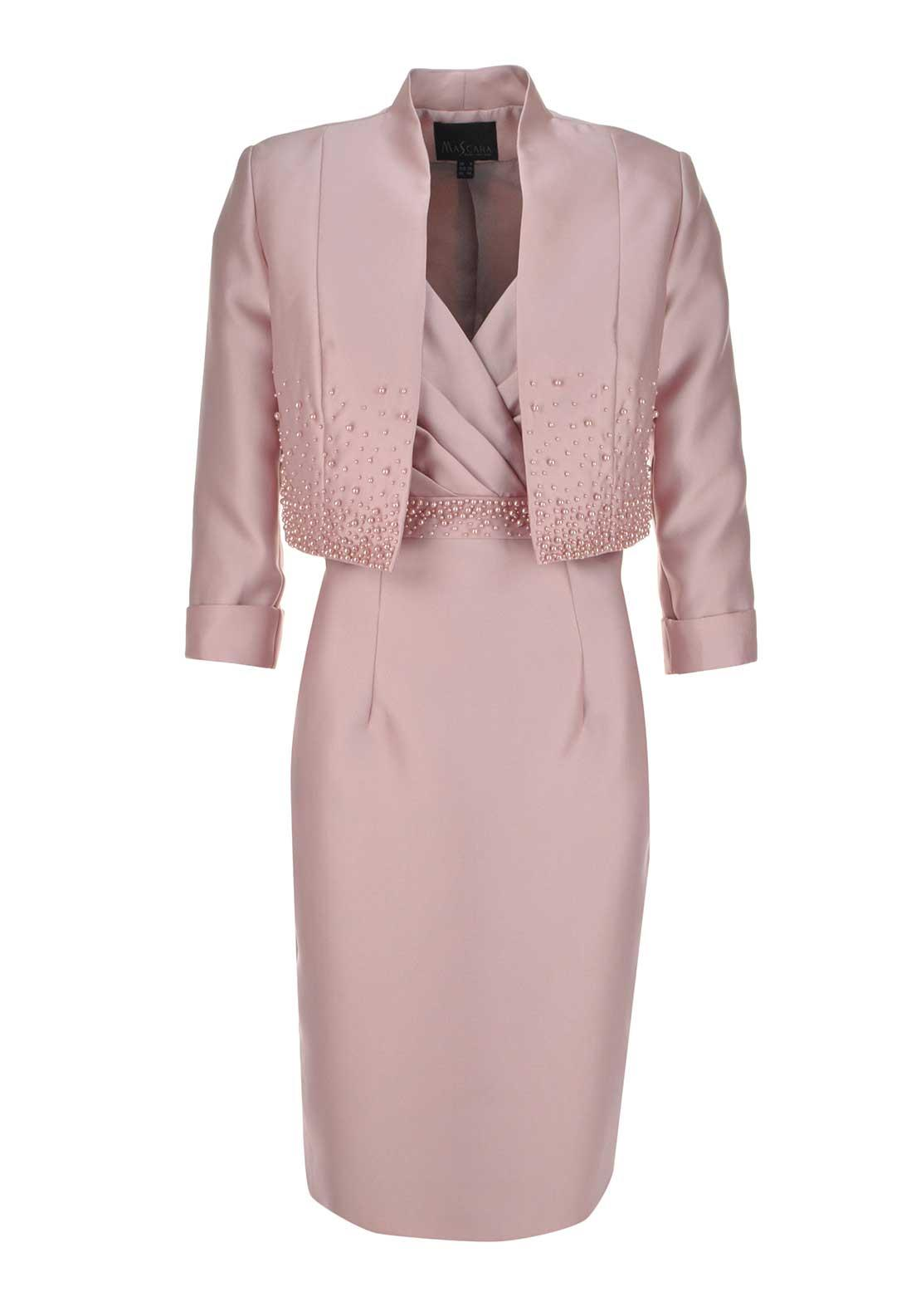 Mascara Special Occasion Pearl Embellished Dress And Jacket, Rose Pink
