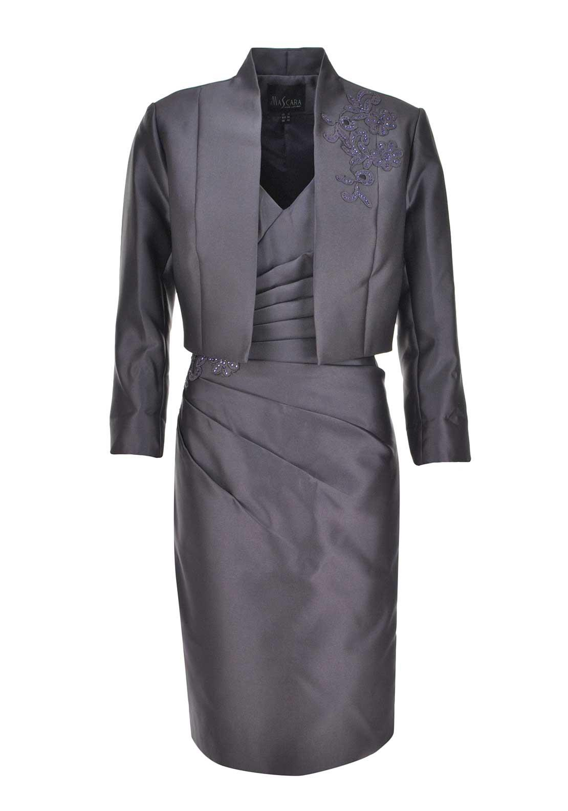 Mascara Special Occasion Embellished Dress And Jacket, Aubergine