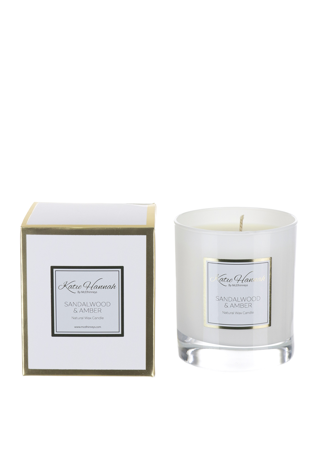 Katie Hannah By McElhinneys Sandalwood & Amber Natural Wax Candle