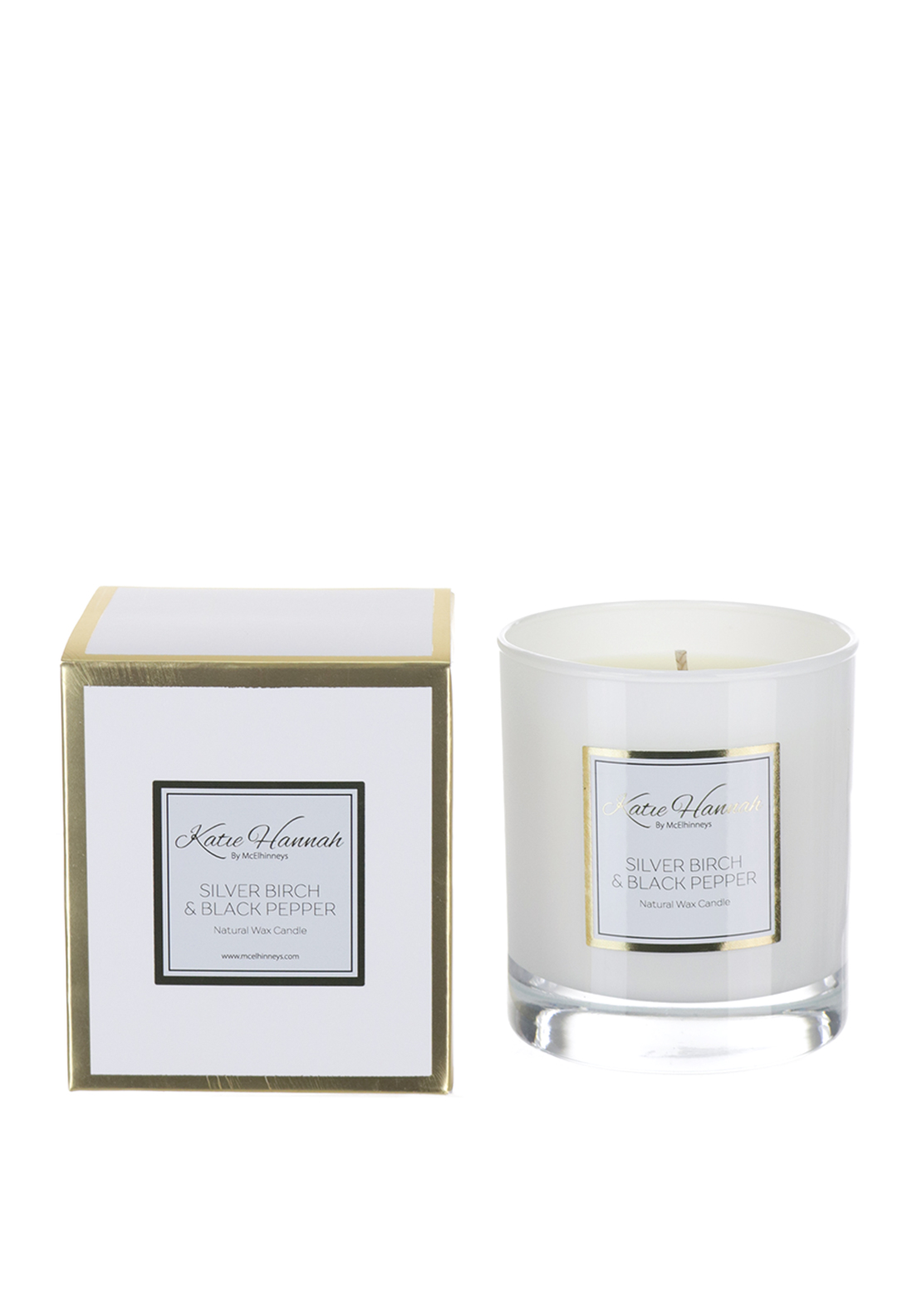 Katie Hannah By McElhinneys Silver Birch & Black Pepper Natural Wax Candle