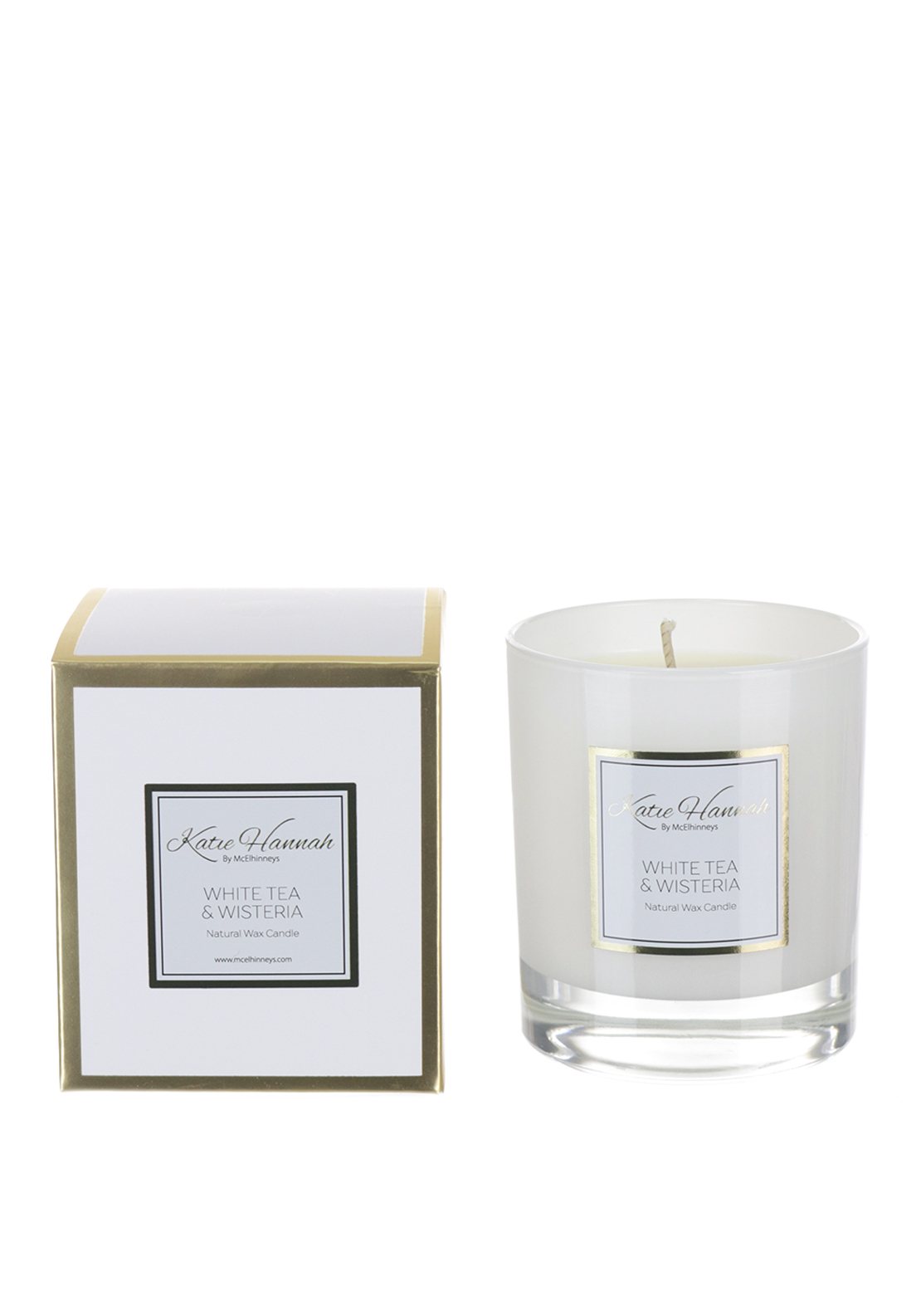 Katie Hannah By McElhinneys White Tea & Wisteria Natural Wax Candle