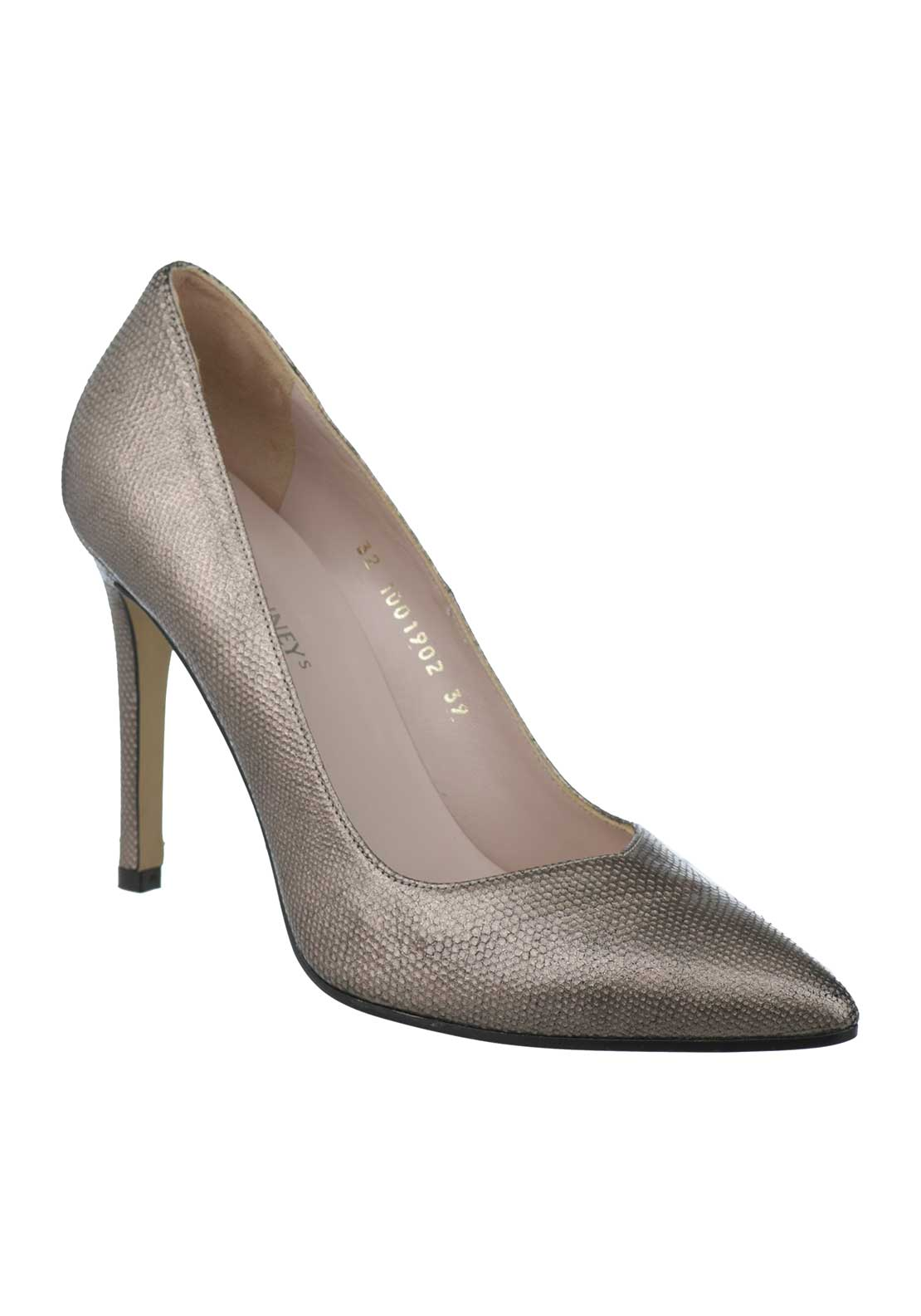 McElhinneys by Lodi Vela Leather Reptile Heeled Court Shoes, Taupe