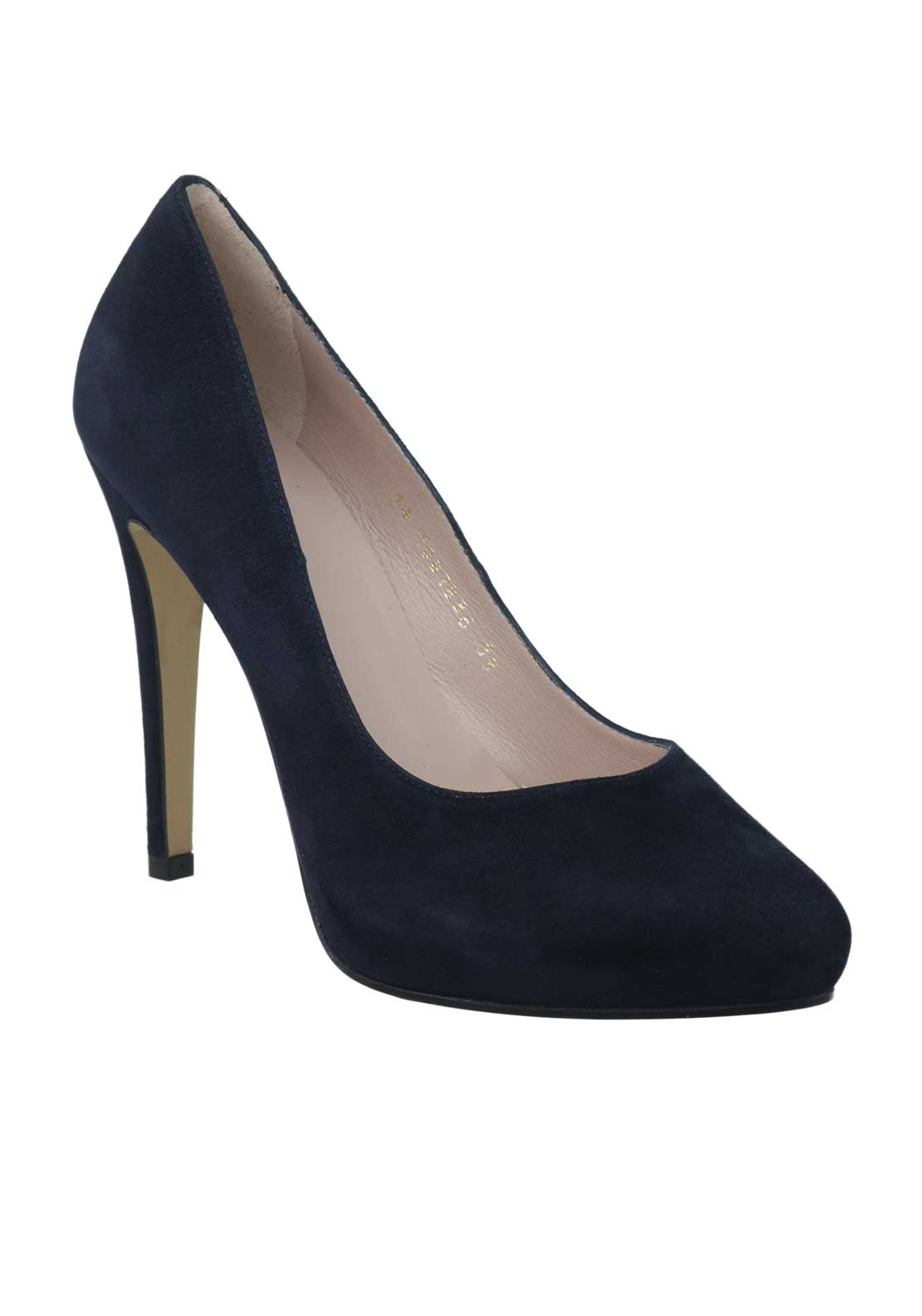 McElhinneys by Lodi Wava Suede Heeled Court Shoes, Navy