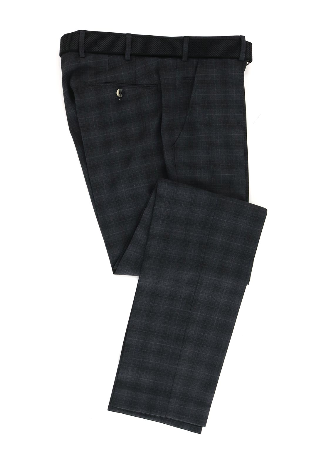 Meyer Mens Bonn Italian Fit Checked Trousers, Charcoal Grey