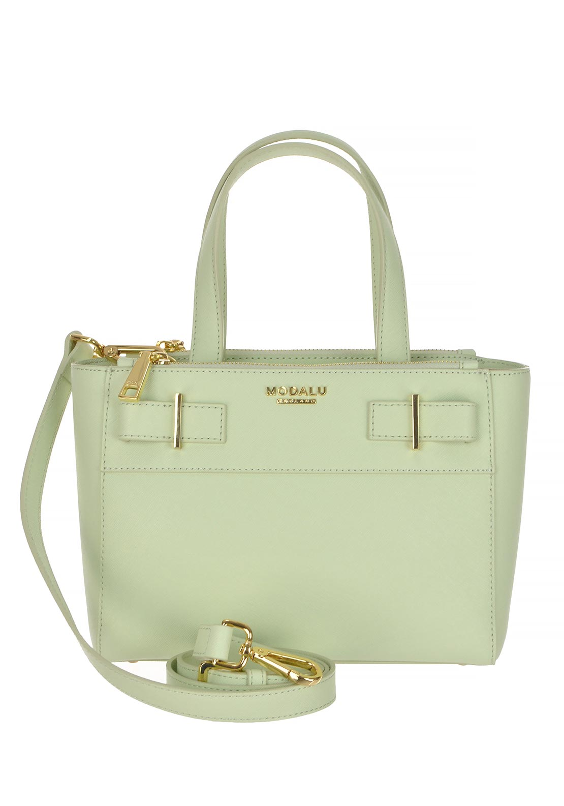 Modalu Belle Leather Mini Tote Grab Bag, Pistachio Green