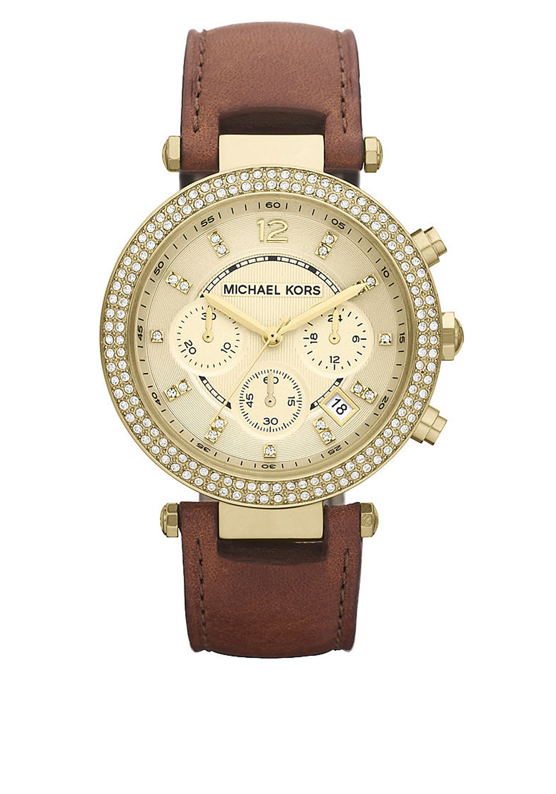 Michael Kors Womens Chronograph Parker Leather Strap Watch, Brown