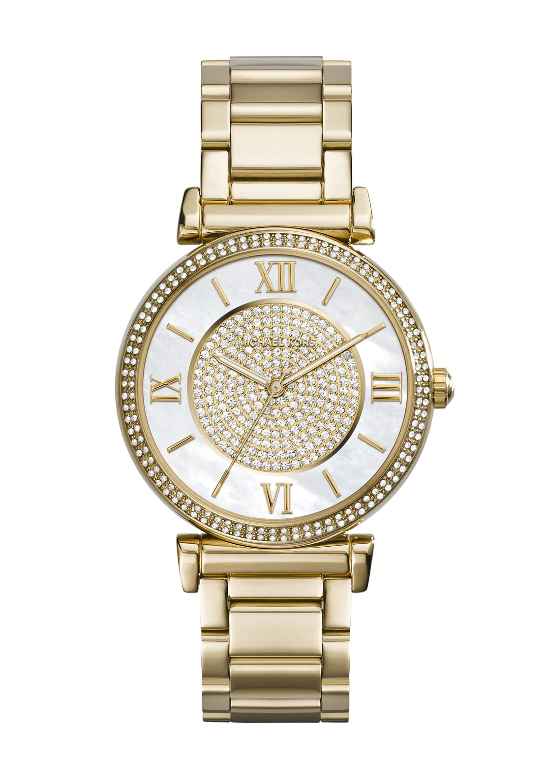 Michael Kors Womens Caitlin Pave Embellished Watch, Gold