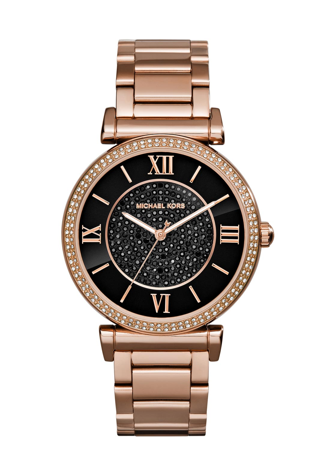 Michael Kors Womens Catlin Onyx Dial Watch, Rose Gold