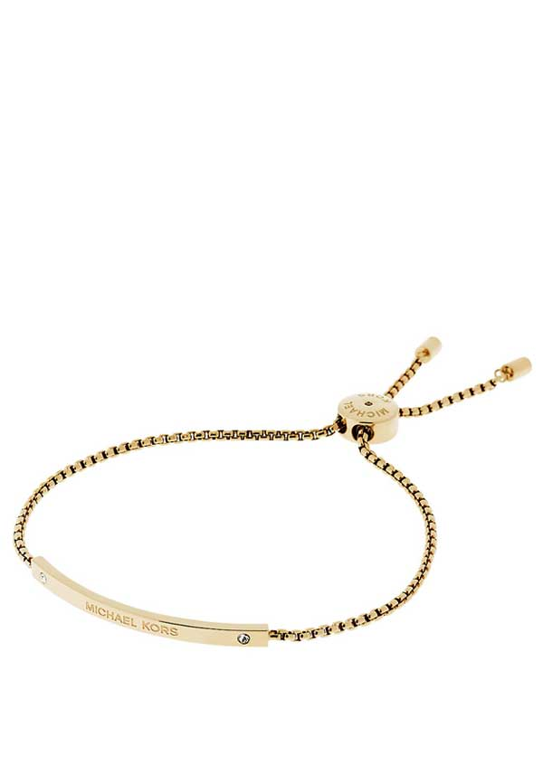 Michael Kors Womens Glitz Sliding Toggle Friendship Bracelet, Gold
