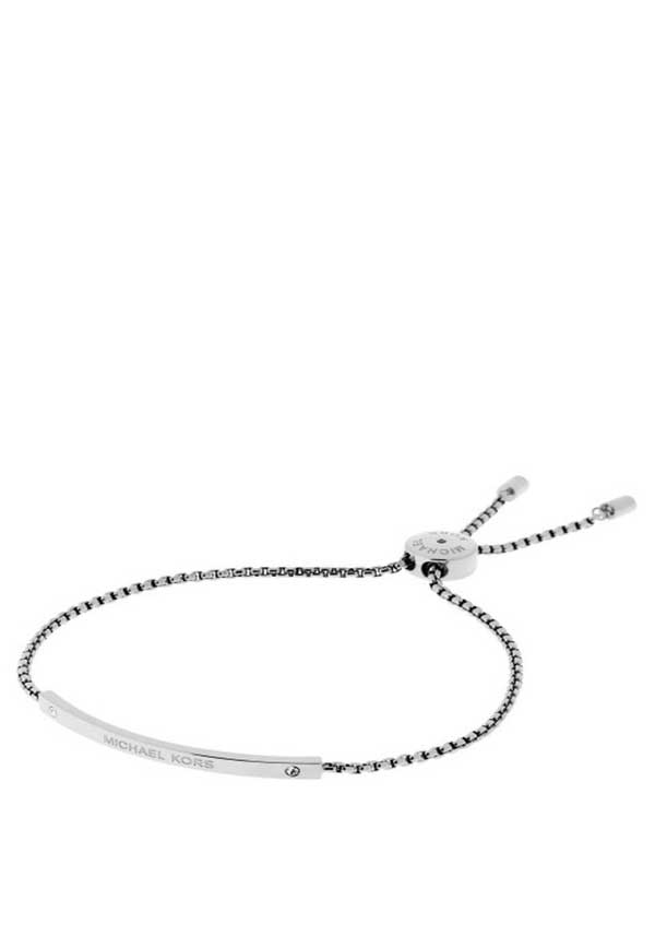 Michael Kors Womens Glitz Sliding Toggle Friendship Bracelet, Silver