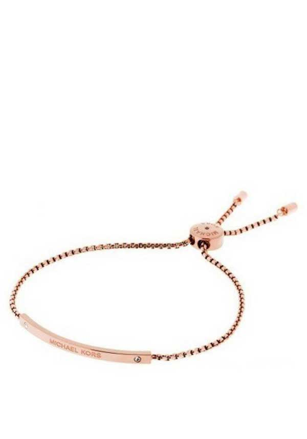 Michael Kors Womens Glitz Sliding Toggle Friendship Bracelet, Rose Gold