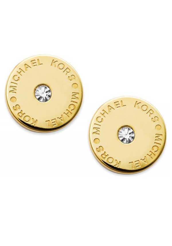 Michael Kors Womens Single Crystal Logo Stud Earrings, Gold