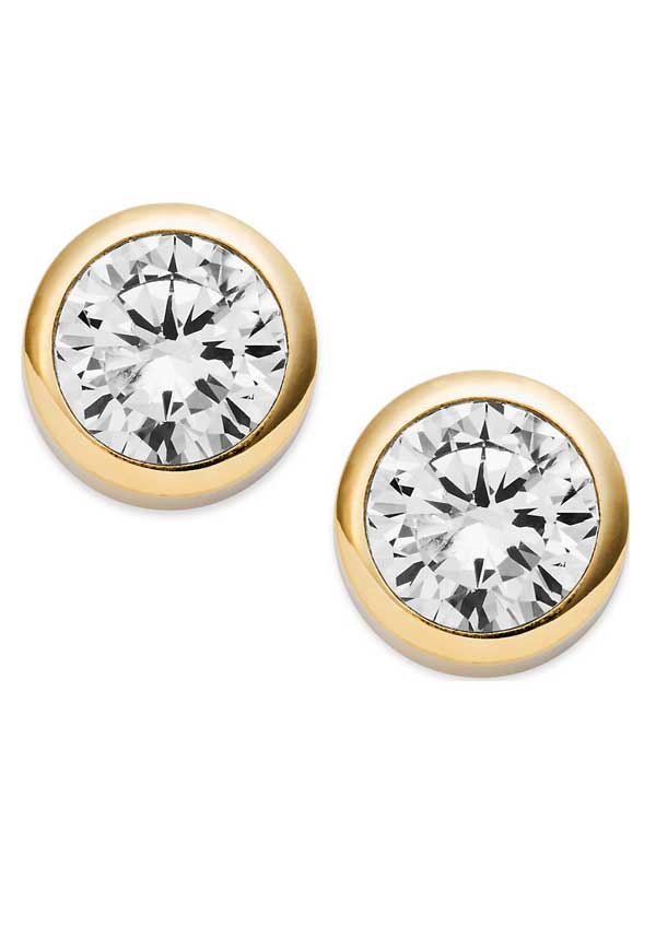 Michael Kors Womens Park Avenue Crystal Stud Earrings, Gold