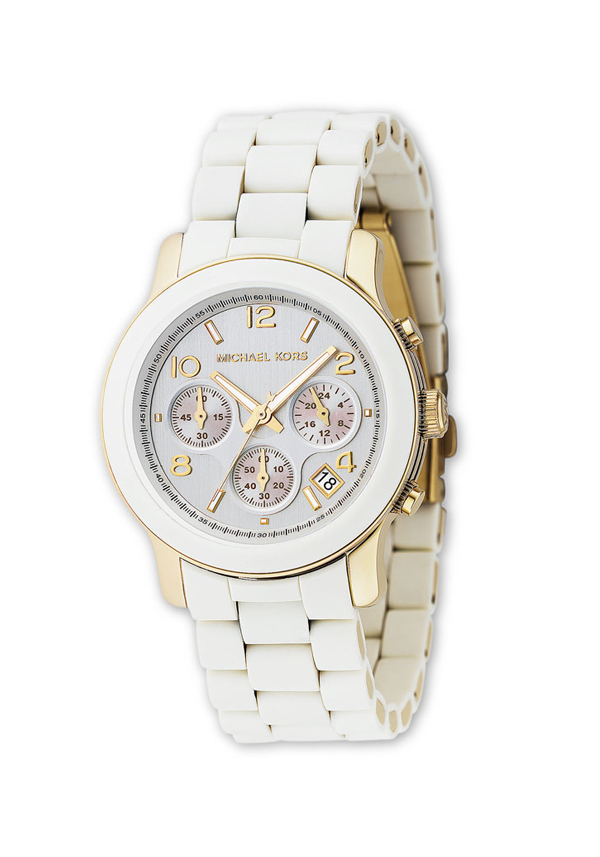 Michael Kors Ladies' Runway Chronograph Watch, White and Gold