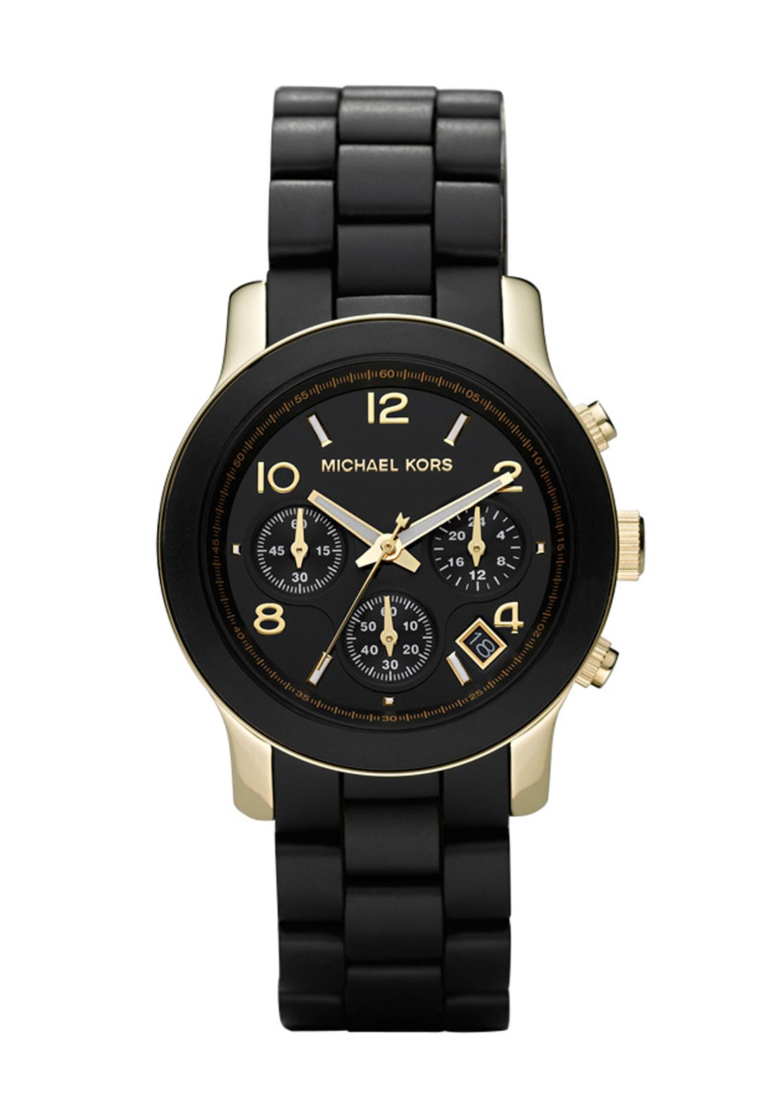 Michael Kors Womens Runway Chronograph Watch, Black and Gold