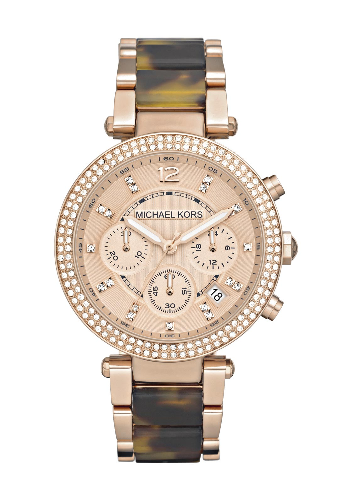 Michael Kors Womens Parker Tortoise Acetate Watch, Rose Gold