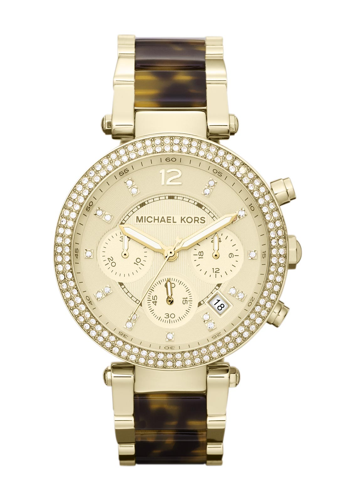 Michael Kors Womens Parker Tortoise Acetate Watch, Gold