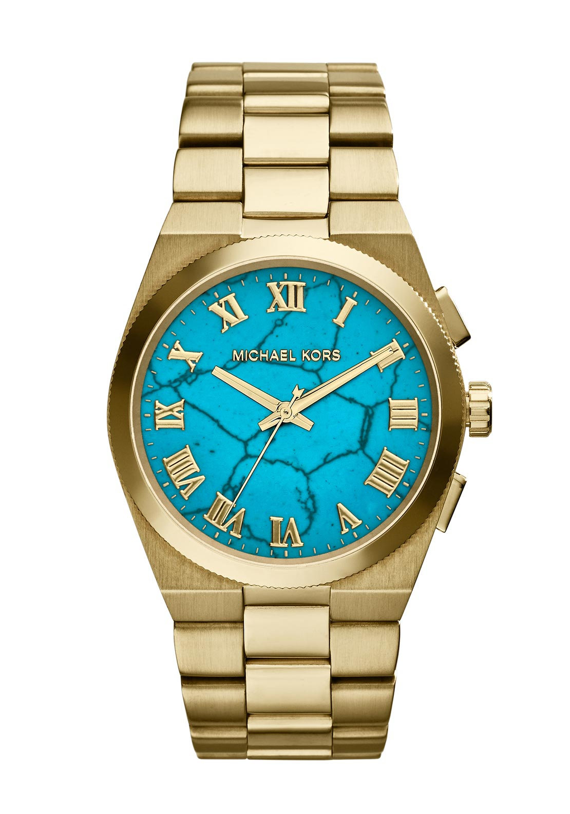 Michael Kors Womens Channing Gold Tone Watch with Turquoise Face