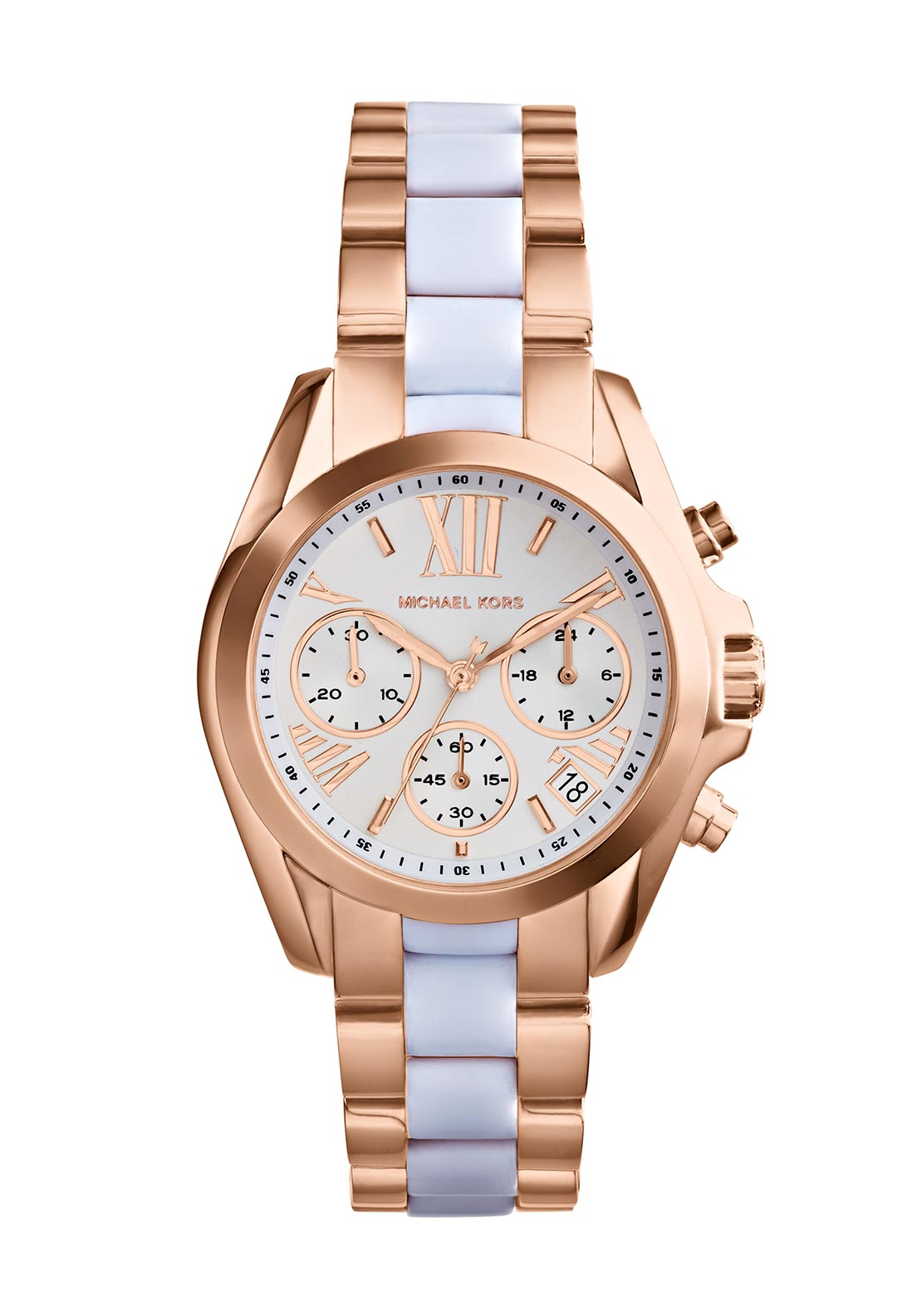 Michael Kors Womens Bradshaw Chronograph White Watch, Rose Gold