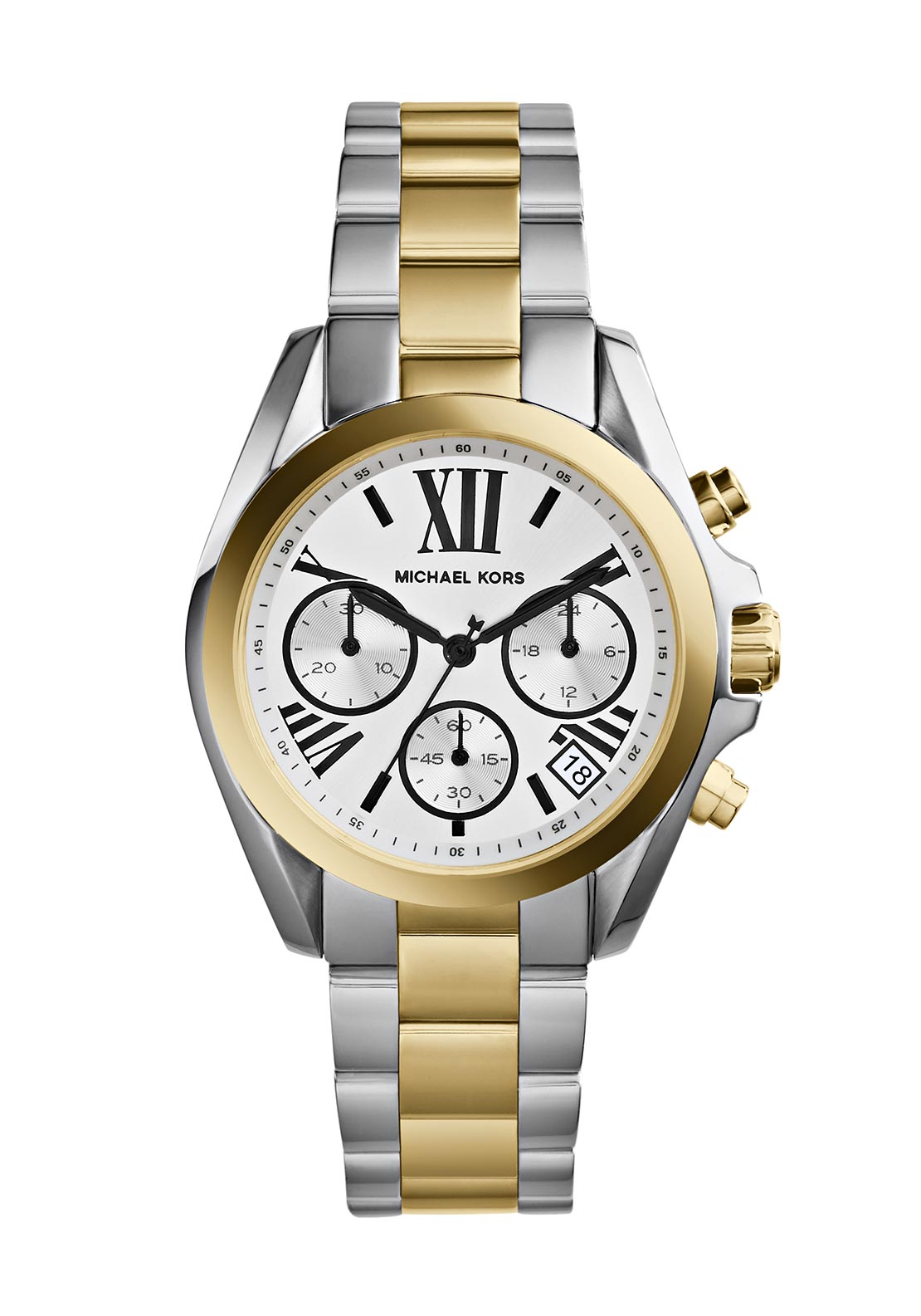 Michael Kors Womens Bradshaw Mini Duo Watch, Silver