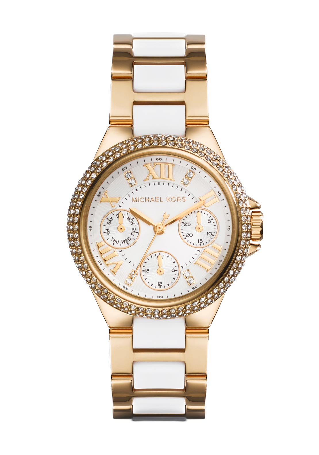 Michael Kors Womens Mini Camille White Watch, Gold