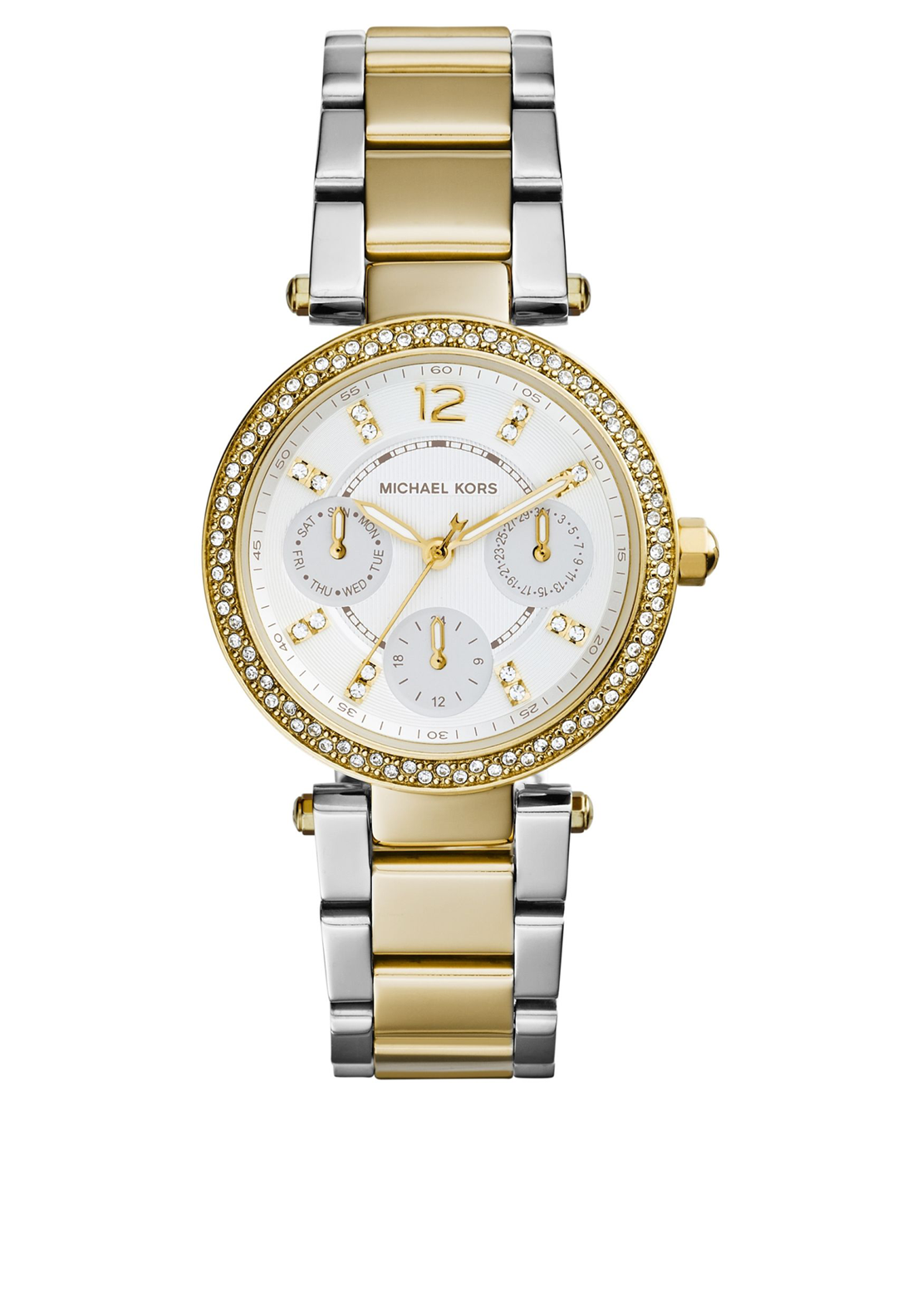 Michael Kors Womens Chronograph Mini Parker Watch, Gold & Silver
