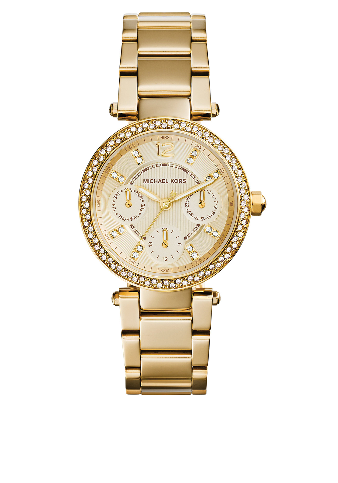 Michael Kors Womens Chronograph Mini Parker Watch, Gold