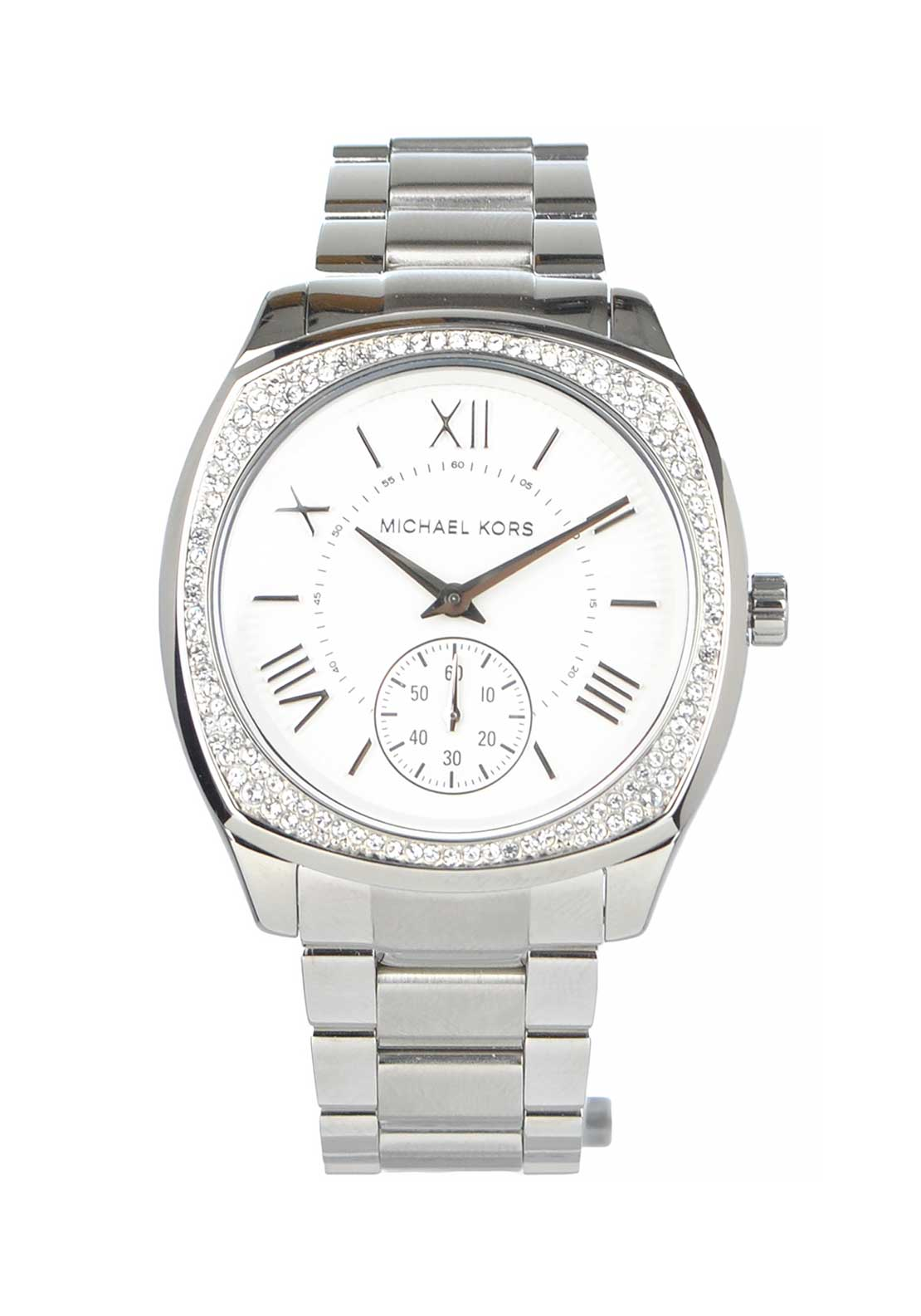 Michael Kors Womens Bryn Diamante Embellished Watch, Silver