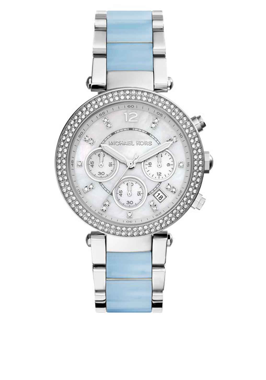 Michael Kors Womens Parker Silver Tone Acetate Watch, Silver