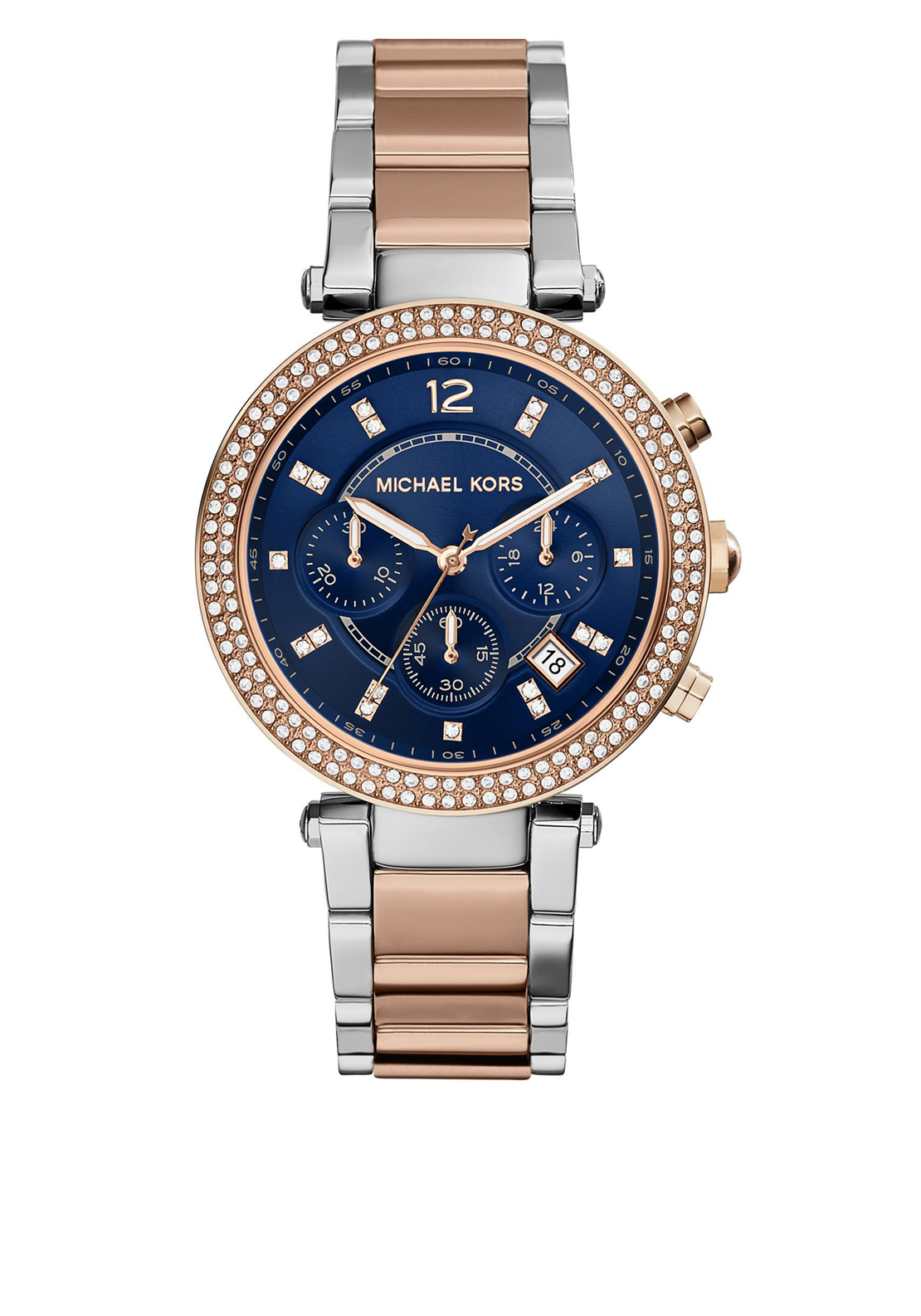 Michael Kors Womens Parker Pave Two Tone Watch, Silver & Rose Gold