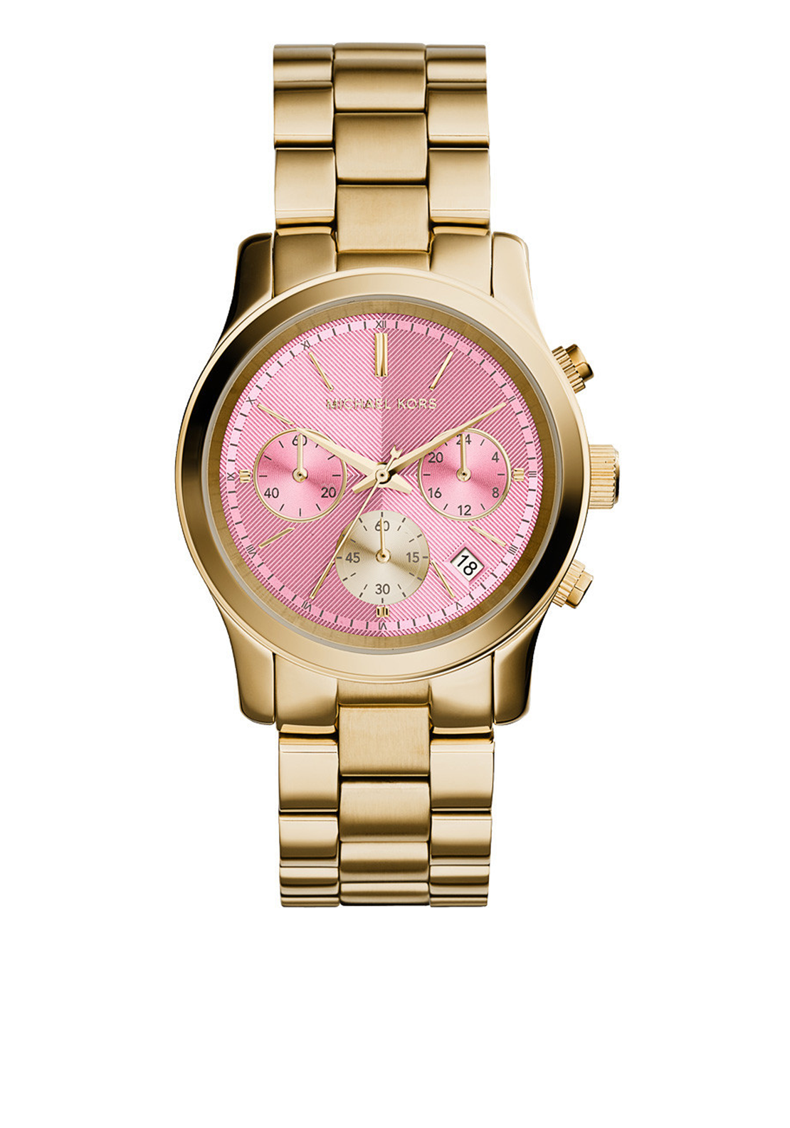 Michael Kors Womens Gold Plated Chronograph Watch, Pink & Gold
