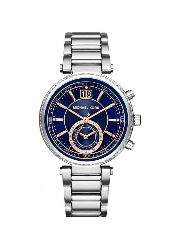 Michael Kors Ladies' Sawyer Navy Blue Steel Chronograph Watch, Silver
