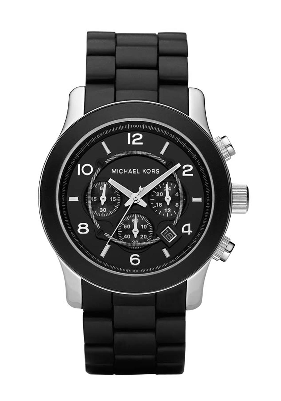 Michael Kors Mens Runway Silicone and Black Stainless Steel Watch, Black